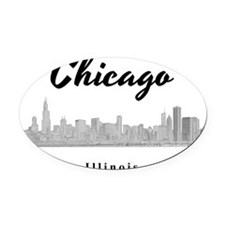 Chicago_12x12_Skyline_Black Oval Car Magnet