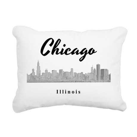 Chicago_12x12_Skyline_Bl Rectangular Canvas Pillow
