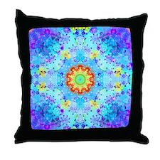 Turquoise Fractal Art Mandala Throw Pillow