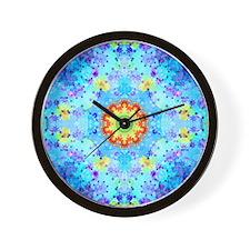 Turquoise Fractal Art Mandala Wall Clock