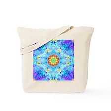 Turquoise Fractal Art Mandala Tote Bag