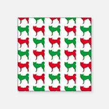 "Husky Christmas or Holiday  Square Sticker 3"" x 3"""