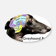 The Greyhound Brain Oval Car Magnet
