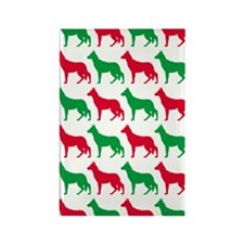 German Shepard Christmas or Holid Rectangle Magnet