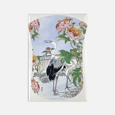 Kindle 19thC Cranes Peonies Flora Rectangle Magnet