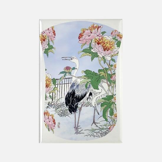 Kindle 19thC Cranes Peonies Flora Rectangle Magnet