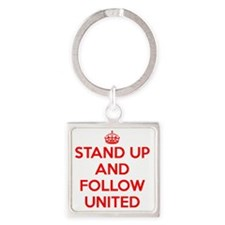 Stand UP and Follow United (Red/Wh Square Keychain