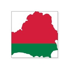 "Belarus map flag Square Sticker 3"" x 3"""