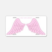 I only look angelic (pink) Aluminum License Plate