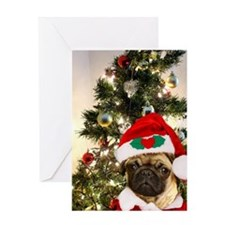 Christmas pug dog Greeting Card