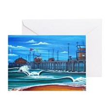 Huntington Beach Pier CIrca 1983 Greeting Card