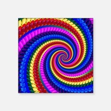 "Psychedelic Rainbow Spiral Square Sticker 3"" x 3"""
