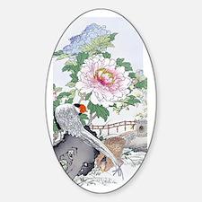 3G 19th C Asian Pheasants Peony Flo Decal
