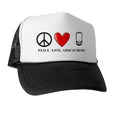 Peace, Love, Geocaching Trucker Hat