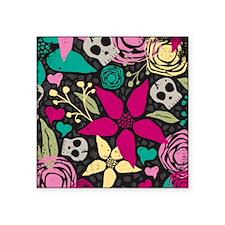 "Creepy floral Curtains 60 x Square Sticker 3"" x 3"""