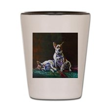Jack Russells on Persian Rug Shot Glass