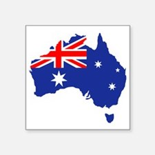 "Australia map flag Square Sticker 3"" x 3"""