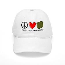 Peace, Love, Geocaching Baseball Cap