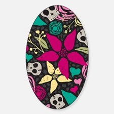 Creepy Floral Rug 3 x 5 Sticker (Oval)