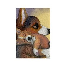 Corgi dog mother and pup Rectangle Magnet