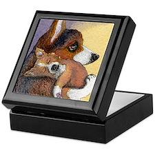Corgi dog mother and pup Keepsake Box