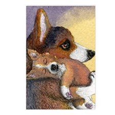 Corgi dog mother and pup Postcards (Package of 8)
