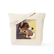 Corgi dog mother and pup Tote Bag