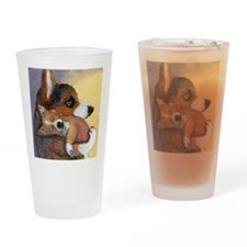 Corgi dog mother and pup Drinking Glass