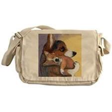 Corgi dog mother and pup Messenger Bag
