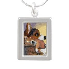 Corgi dog mother and pup Silver Portrait Necklace