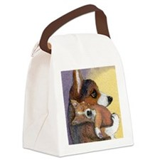 Corgi dog mother and pup Canvas Lunch Bag