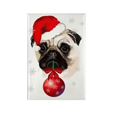 A Very Merry Christmas Pug Rectangle Magnet