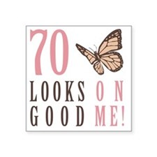 "70th Birthday Butterfly Square Sticker 3"" x 3"""