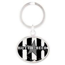 Hutch Beer Black Oval Keychain