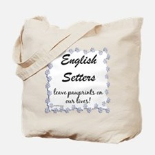 English Setter Pawprint Tote Bag