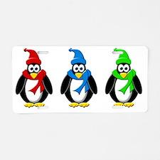 Penguins Colorful Winter De Aluminum License Plate
