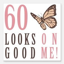 """60th Birthday Butterfly Square Car Magnet 3"""" x 3"""""""