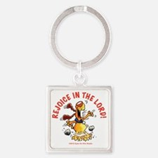 Rejoice In The Lord Pup Square Keychain
