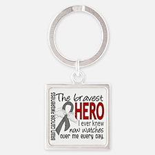 D Brain Cancer Bravest Hero I Ever Square Keychain
