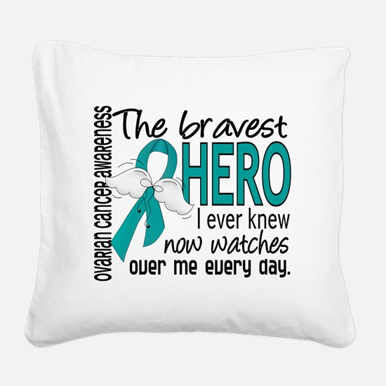 D Ovarian Cancer Bravest Hero Square Canvas Pillow