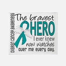 D Ovarian Cancer Bravest Hero I Ever Throw Blanket