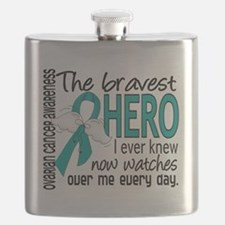 D Ovarian Cancer Bravest Hero I Ever Knew Flask