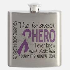 D Pancreatic Cancer Bravest Hero I Ever Knew Flask