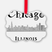 Chicago_10x10_Skyline2_Black Ornament