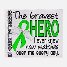 D Non-Hodgkins Lymphoma Bravest Hero Throw Blanket