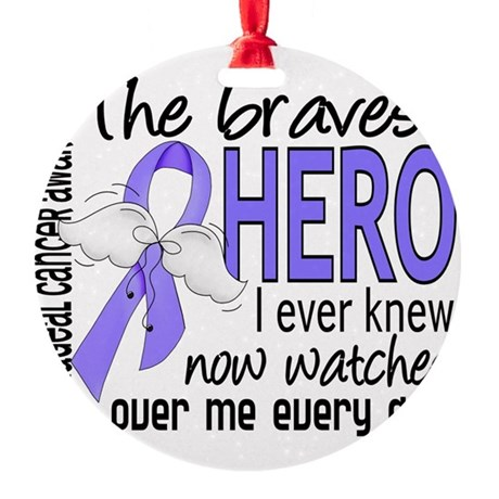 D Esophageal Cancer Bravest Hero I Round Ornament