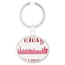 Chicago_10x10_Skyline2_Red Oval Keychain