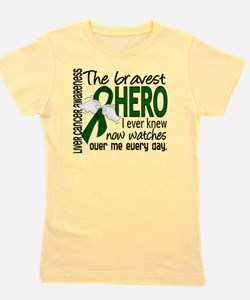 D Liver Cancer Bravest Hero I Ever Knew Girl's Tee