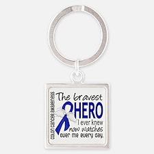 D Colon Cancer Bravest Hero I Ever Square Keychain