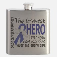 D Colon Cancer Bravest Hero I Ever Knew Flask